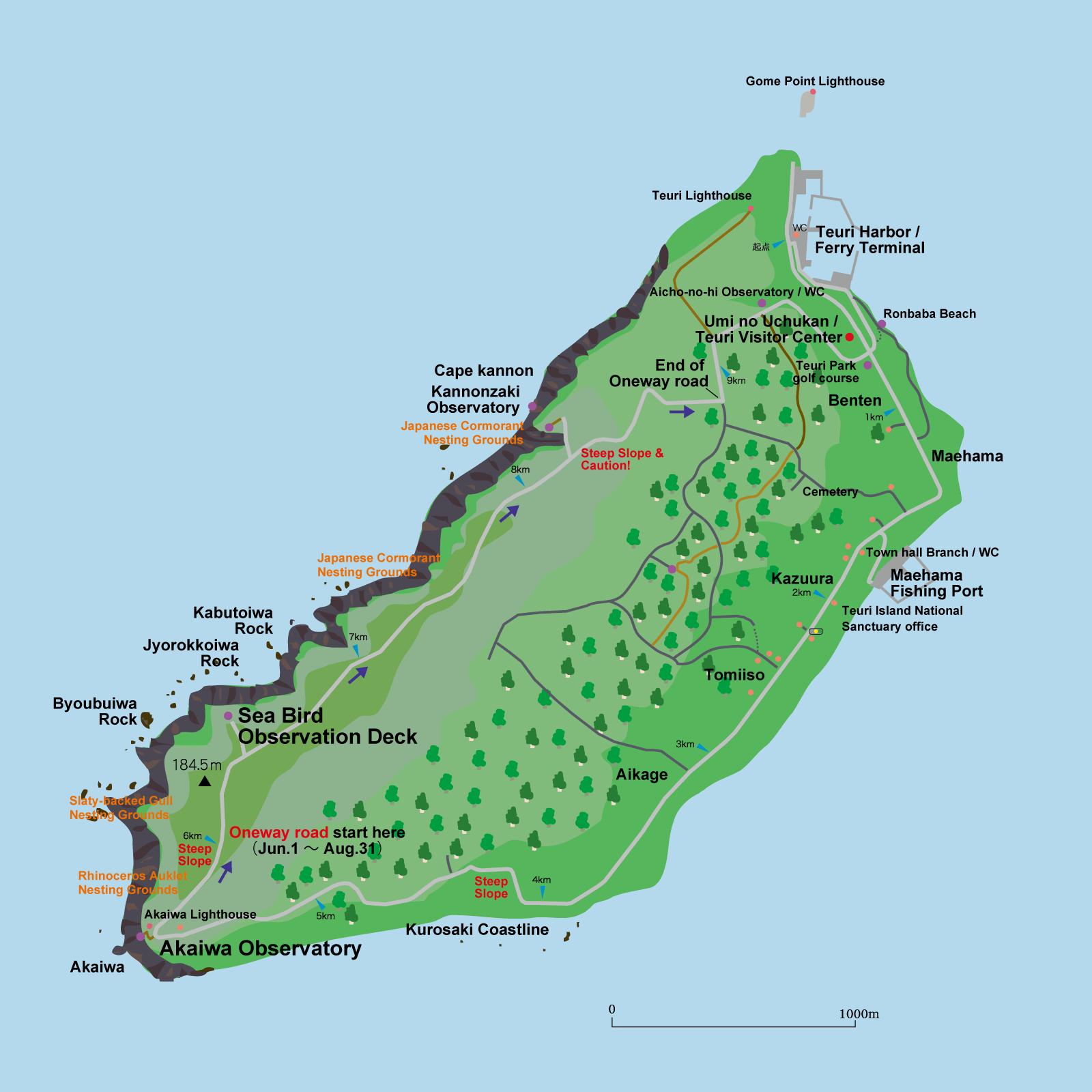 天売島イラストマップ